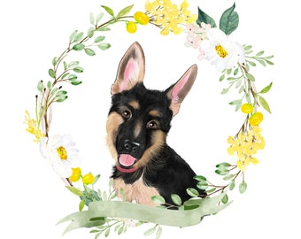 German Shepard custom portrait; unique pet illustration; Gift for dog lovers; Pet drawing; Gift for her