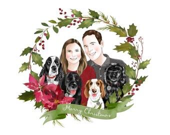 Christmas custom portrait; Personalized family portrait; Family with pets; Hand drawn portrait; Digital Christmas card; Greetings; Xmas