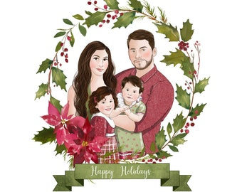 Mom and Dad custom portrait; Family Christmas portrait; Digital Christmas card; Housewarming gift for family; Children custom portrait