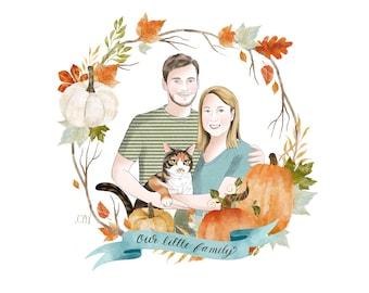 Autumn Portrait; Pet lovers cartoon; Custom family drawing; Digital portrait; Cat and dog portrait; Fall vibe; Housewarming gift; Fall decor