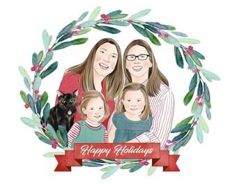 Gay Family Christmas Card; Two moms and family; Digital Christmas greetings; Custom family portrait; Customized Christmas gift; LGBTQ family