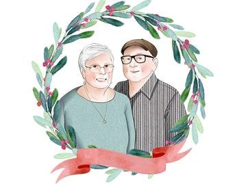 Grandparents custom portrait; Christmas gift for parents; Grandma and Grandpa cartoon; Hand drawn portrait; Christmas card; Anniversary gift