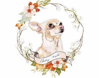 Chihuahua dog portrait; Artistic dog portrait; Digital pet portrait; Pet illustration; Dog drawing; Custom pet portrait; Dog print