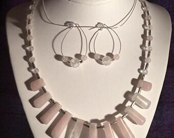 """Rose Quartz 20"""" Bib Styled Necklace Set"""