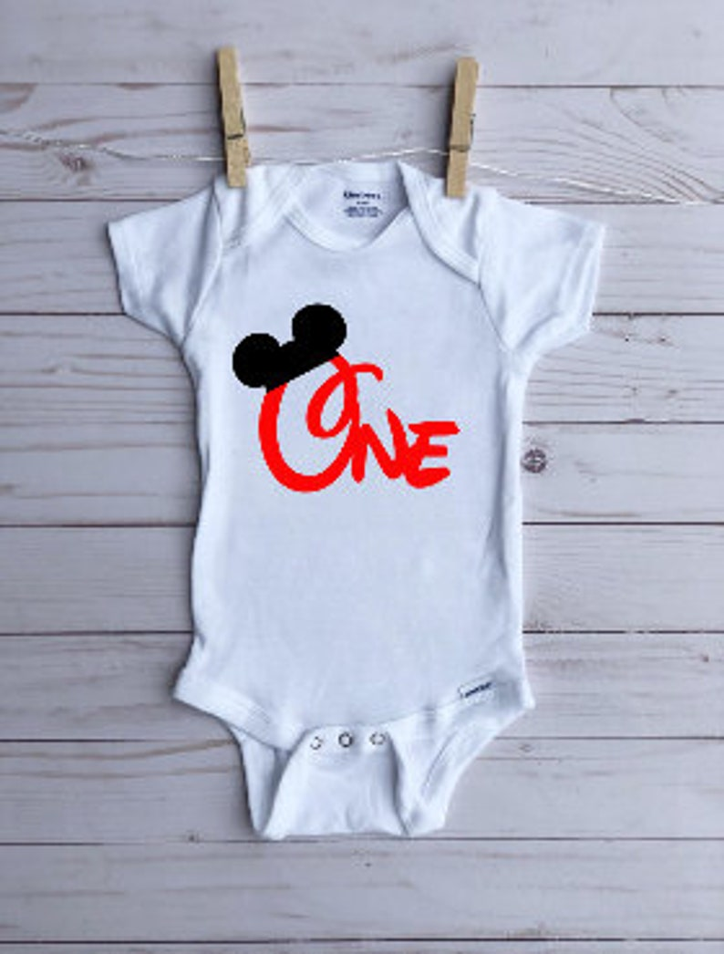 Mickey Mouse First Birthday Boy Onesie \u00ae Mickey Mouse Birthday