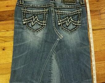 "Miss Me Denim Jean Skirt Embroidery ""M"" Size 27 (6-8)"