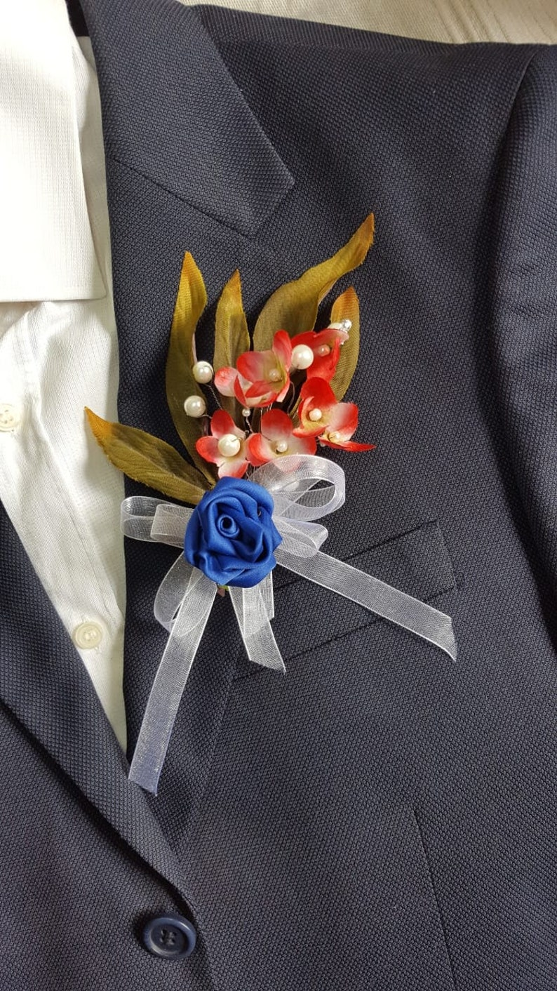Fabric flower brooch. Rose Brooch Men/'s Flower Groom flower Handmade boutonniere Wedding boutonniere Brooch pin Lapel flower pin
