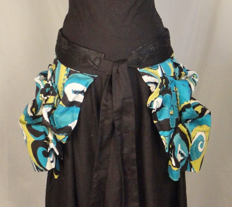 Up-cycled Teal Swirl of Color Bustle Skirt