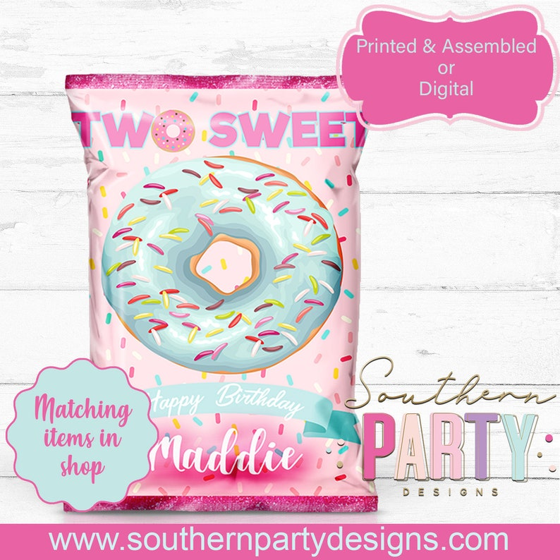 Donut Favor Bags Two Sweet 2nd Birthday Chip