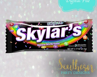 Black Unicorn Skittles, Birthday Favor, Party Bag, Candy Bag, Birthday, Rainbow, Any Name, YOU PRINTk