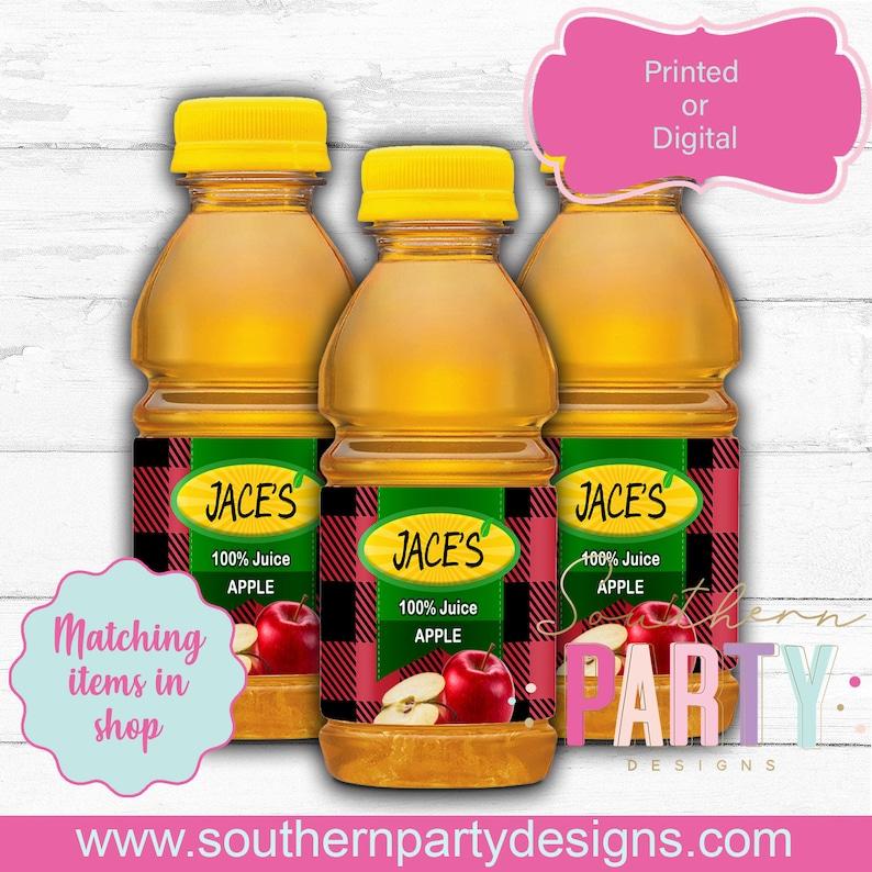 Lumberjack apple juice, labels, buffalo plaid apple juice, wild one apple  juice, young wild and three apple juice,