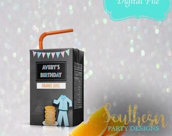 Pancakes and pajamas juice box, wrapper, pancakes and pajamas birthday party, 1st birthday, favor, any name, YOU print