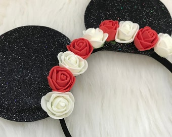 Sparkly floral Minnie Mouse ears