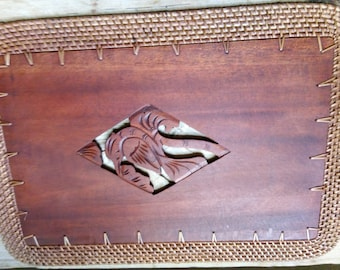 Balinese Rectangular Carved Timber Wood Four Placemats with a Rattan Edge from Bali