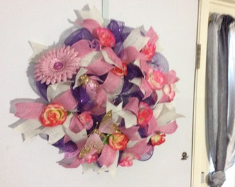 Pink and purple spring wreath