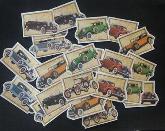 Set of 24 VINTAGE Car Cut Outs