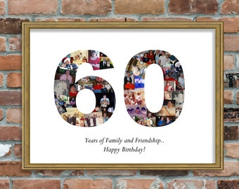 60th Birthday Photo Collage Anniversary Gift For Mom Dad