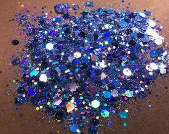 Peeka Blue**Chunky Glitter, Festival Glitter, Nail Glitter, Cosmetic Grade Glitter