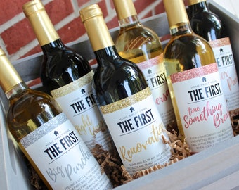 6 Housewarming Gifts For New Home Homeowner Wine Label Gift Set Unique Real Estate From Agent Client Congratulations