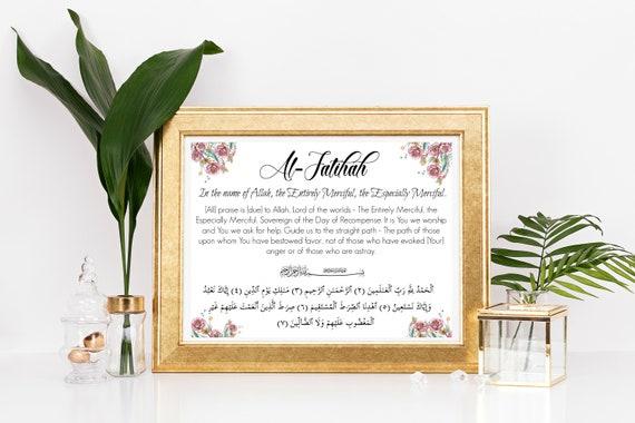 Sura Al Fatihah Arabski I Angielski Tłumaczenie Kwiatowy Etsy