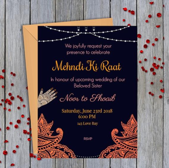 Mehndi Card Digital Customization [South Asian Wedding] , E,CARD.