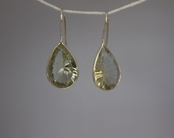 Pear Shaped Mint Quartz Earrings