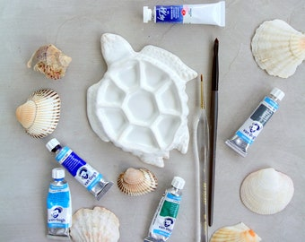 """Ceramic Mixing Palette """"TURTLE"""" mini,  for watercolor painting, acrylic, gouache, Gifts for Painters, for sketching"""