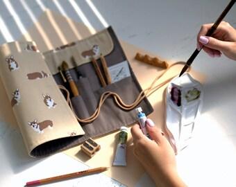 """Watercolor Kit  """"CORGI"""", Paintbrush Pencil Roll + ceramic palette + Brushrest, Set for the painters, gift for artist, gift for llustrators"""