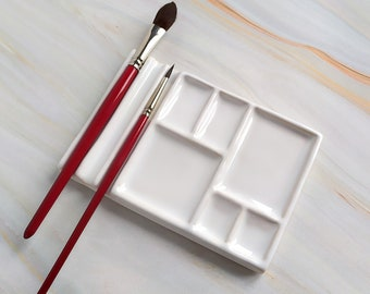 """Ceramic Palette for Painting """"SQUAER"""" , Artist Paint Mixing Palette , gift for artist, Watercolor Ceramic  Palette,"""