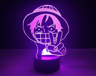 Luffy LED Lamp One Piece Light Table Lamp Gifts Bedroom Decor Desk Lamp Acrylic Lamp LED Lamps LED Night Light Modern Lamp Man Cave