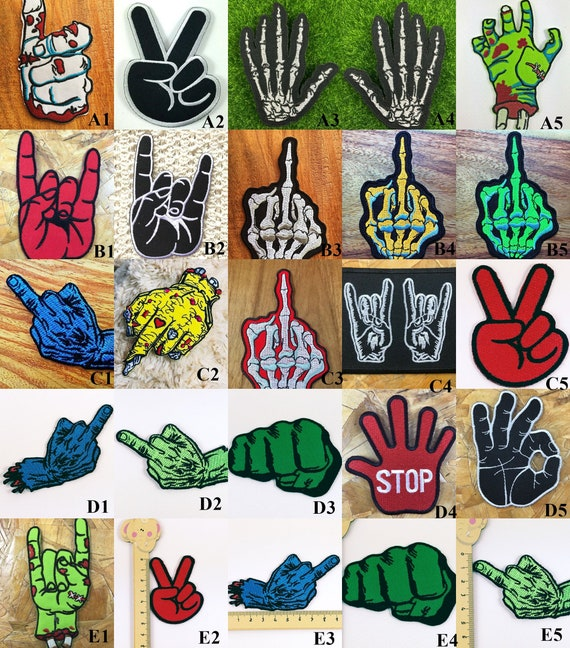 Skull Hand Skeleton Fingers Badge logo Iron Sew on Embroidered Patch