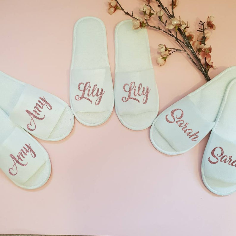 48b62be74 Personalised Slippers Bride slippers Bridesmaid Gift Wedding