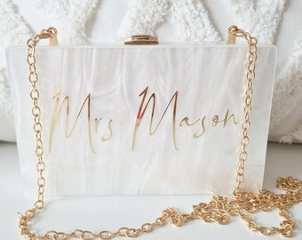 Personalised Bride Pearl Future Mrs Acrylic Clutch Box Bag Hen Honeymoon bag Wife To Be Personalised Acrylic Clutch, Custom Mrs. Clutch