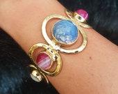 Agate Bracelet, Agate Jewelry, Gemstone Bracelet, Blue Agate Bracelet, Women Bracelet, Blue Lace Agate, Blue Agate Bracelet