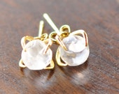 Clear Quartz Gemstone Stud Earrings For Everyday Style