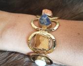Tiger Eye Bracelet, Tigers Eye Bracelet, Gemstone Bracelet, Rainbow Bracelet, Lapis Bracelet, Lapis Lazuli, Lapis Jewellery, Boho Bracelet