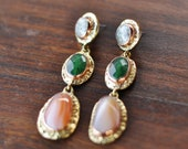Dangle Labradorite, Agate and Jade Gemstone Earrings, Statement Earrings Gift For Her