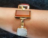 Druzy Agate Bracelet For Elegant and Sophisticated Women, Great Gemstone Bracelet Gift For Her Anniversary