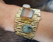 Labradorite Bracelet, Agate Bracelet, Rose Quartz Bracelet, Multistone Bracelet, Gemstone Bracelet, Agate Geode Bracelet, Gemstone Jewelry