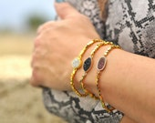 Druzy Bracelet, Blue Druzy Bracelet, Gemstone Bracelets For Women, Natural Gemstone Bracelet, Agate Bracelet, Geode Bracelet