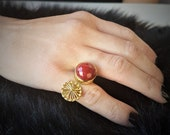 Red Jasper Faceted Ring In Brass, Elegan And Simple Gemstone Ring For Everyday Women