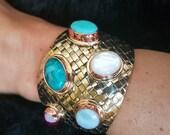 Wide Bracelet, Brass Copper Bracelet, Brass Copper Cuff, Cuff Bracelets Gemstone, Nacre Bracelet, Turquoise Cuff Bracelet, Agate Bracelet