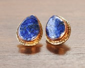 Lapis Earrings Stud System In Cabochon For Everyday Style, Lapis Lazuli Jewelry