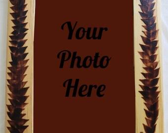 Wood Burned Leaf Frame 4in x 6in