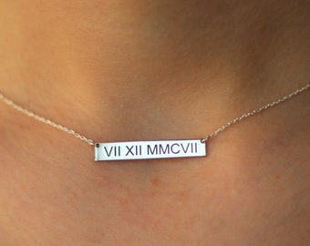 Tiny Roman Numeral Necklace Gold - Personalized Bar Necklace - Roman Numeral Silver Necklace - Date Necklace - Dainty Necklace - Gold Jewel