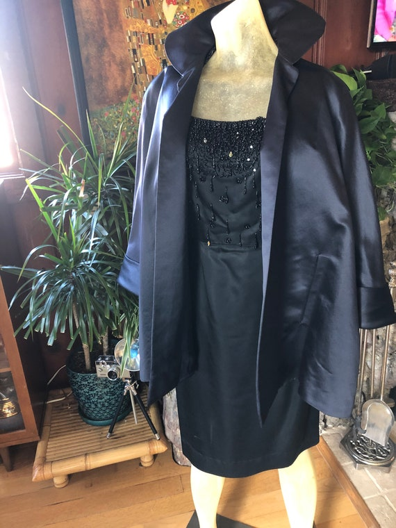 STUNNING 1950's Halter Beaded Black Dress - image 4