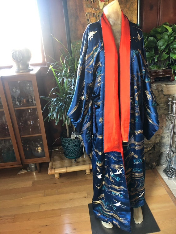 STUNNING 1920's Navy and Red Silk Kimono