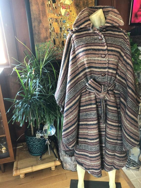 Attosecond wool coat | vintage 1970s blanket coat