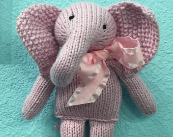 Hand Knitted Pink Elephant