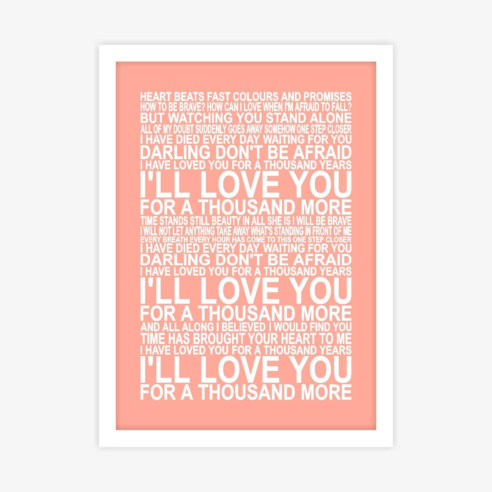 Christina Perri A Thousand Years Song Lyrics Poster Wall Art   Etsy